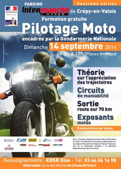 pilotage moto à Crépy